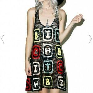 WILDFOX Bitch Granny Sabrina Crochet Dress Small